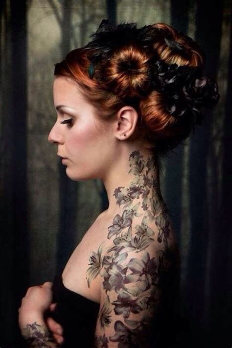 tattoo arm hair girl with mini hair buns flowers with tattoo side neck