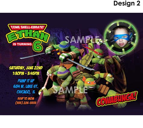 tmnt birthday card template mutant turtle birthday invitations
