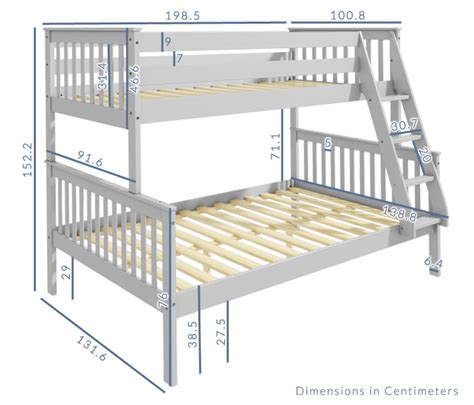 Standard Bunk Bed Mattress Size Oxford Bunk Bed In Light Grey Small Furniture123