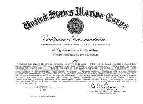 usmc certificate of commendation template vmfat 101 employee receives certificate of commendation