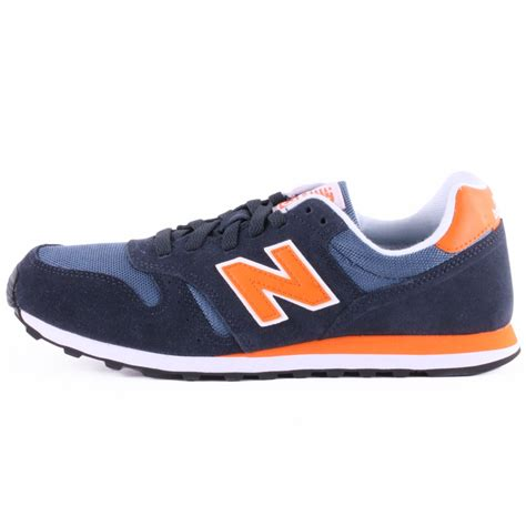 new balance u 373 mens suede synthetic trainers in navy orange