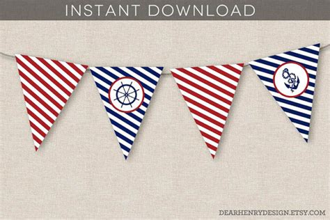 printable nautical banner nautical banner instant download printable nautical