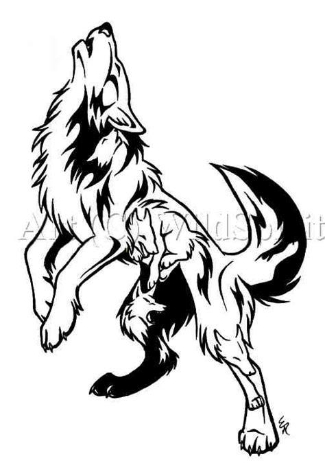 howling wolf tribal stencil head tattoo on paper