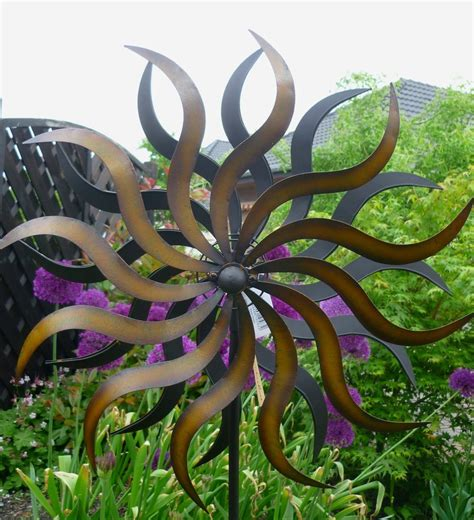 gartendeko sonne metall windspiel gartenstecker windrad sonne metall
