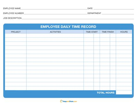 free daily timesheet template best photos of printable weekly time sheet record