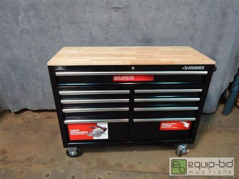 husky 46 inch 9 drawer mobile workbench with solid wood top nice husky 46 quot 9 drawer mobile solid wood top work bench
