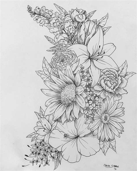 flower collage tattoo designs floral contact me for custom drawings