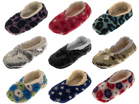 slippers with fur inside womens sequin sherpa fur lined slipper socks