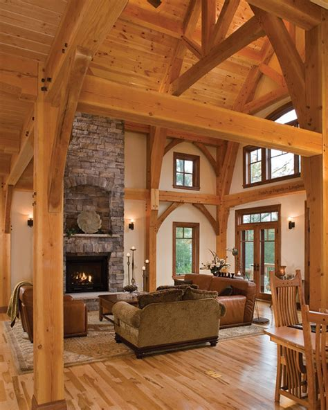 timber treasure timber frame home great room  stately