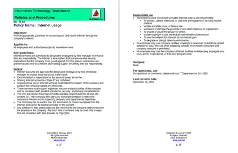 policies and procedures sle format images