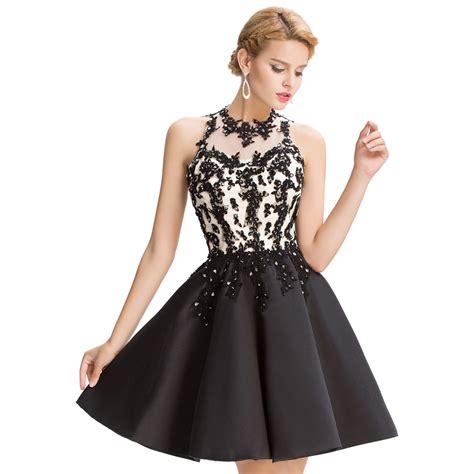 lace short dress cocktail shopstyle sexy high neck little black casual vestidos de coctel lace