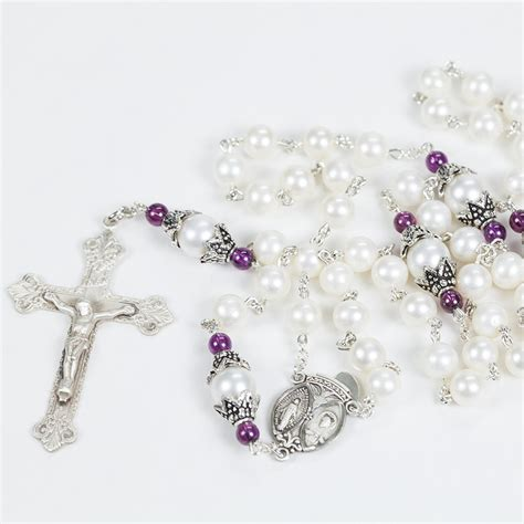 Handmade Rosaries - pearl garnet rosary rosaries and chaplets by sue