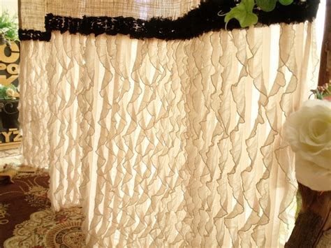 Country Chic Shower Curtains Ruffled Vintage Custom Shabby Rustic Chic Burlap Shower