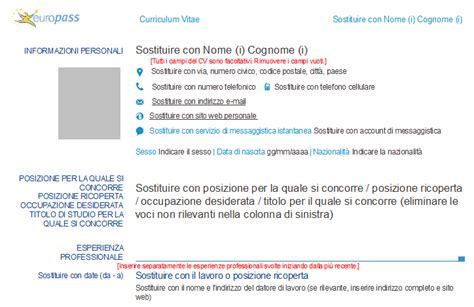 curriculum vitae europass 2015 da compilare free resume curriculum vitae il nuovo modello cv europass 2013