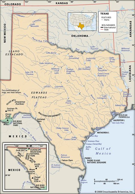 physical map texas texas physical features encyclopedia children s homework help