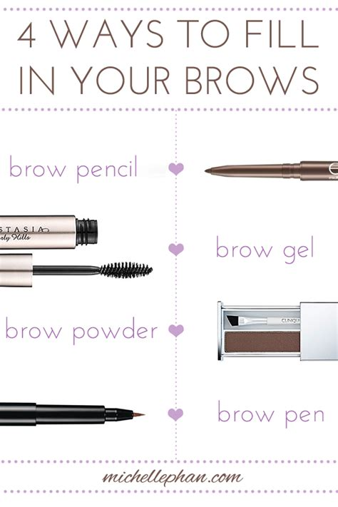 proper way to fill in eyebrows brow basics 4 different ways to fill them in michelle