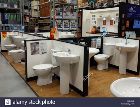 bathroom displays bathroom suites on display in a b q store stock photo
