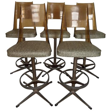 Daystrom Furniture by Set Of Five Midcentury Lucite And Chrome Barstools By