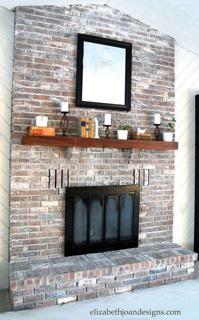 whitewashed brick fireplace for the home