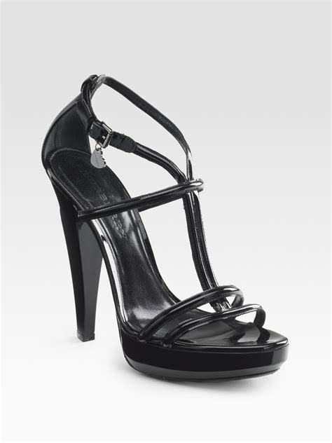 black leather platform sandals burberry patent leather platform sandals in black lyst
