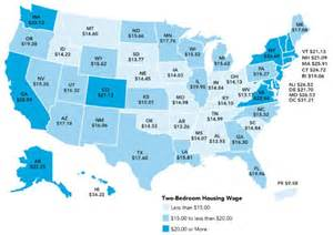 low cost of living states bleak map charts the hourly wage required to rent an