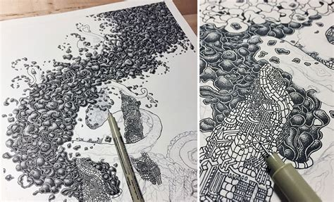 millions of dots form intricate pen drawings to raise