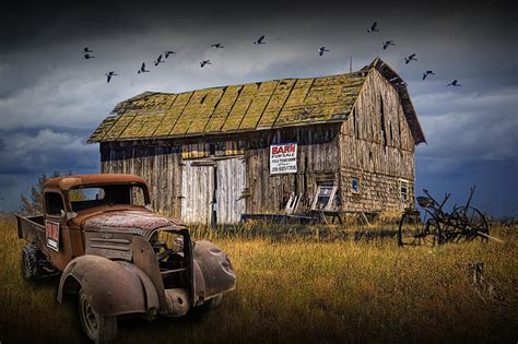 Wooden Barns For Sale Old Vintage Truck And Wooden Barn For Sale Photograph By