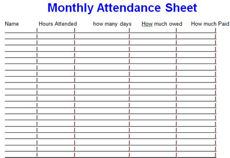 yearly employee attendance sheet template