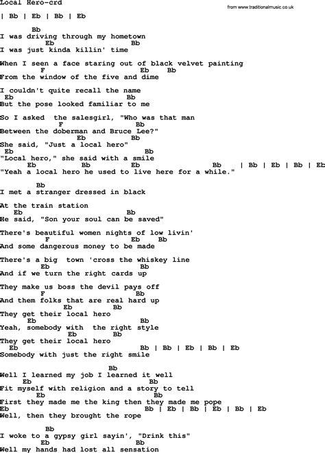 heroes printable lyrics bruce springsteen song local hero lyrics and chords
