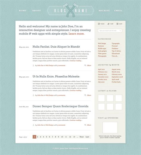 layout blog template woodsman blog layout psd