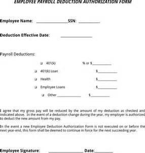 Employee Deduction Form Template by Payroll Deduction Form For Excel Pdf And Word