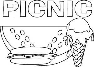 delicious food for picnic coloring page netart