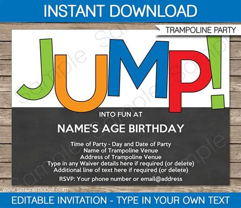 Troline Party Invitations Template Boys Birthdays Party Invitations And Parties Free Bounce Invitation Template