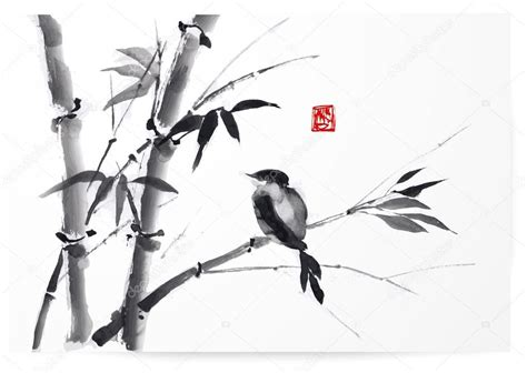 Disn Y Back card with bamboo and bird stock vector 169 elinacious