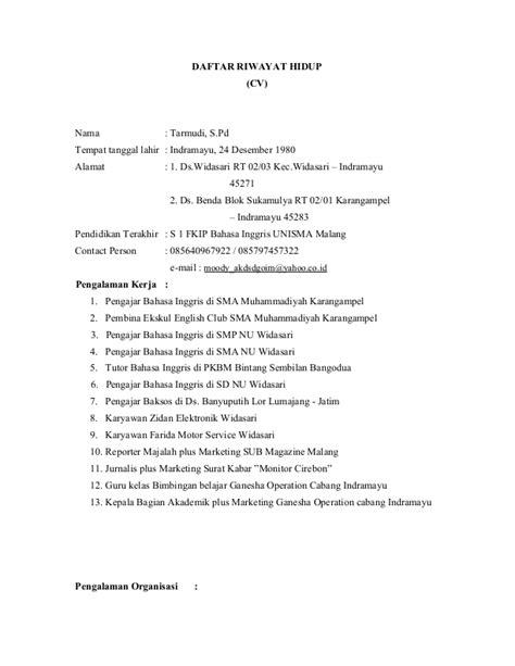 format cv narasumber contoh format daftar riwayat hidup curriculum vitae