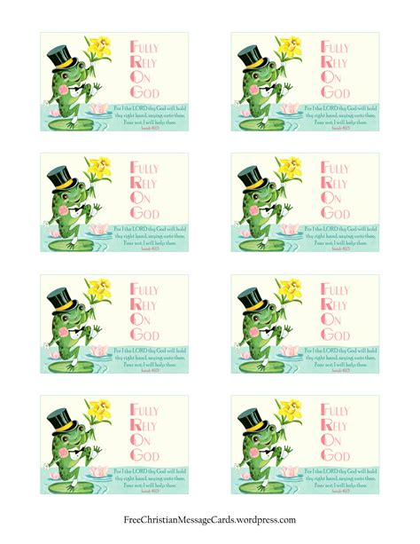 Printable Christian Card Templates by Free Printable Christian Message Cards Fear Not I Will