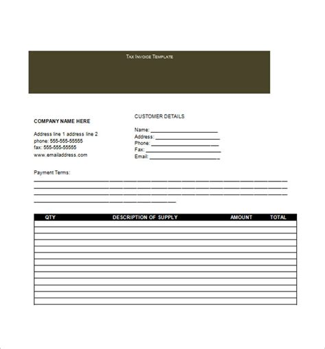 tax invoice template pdf tax invoice template free word excel pdf documents