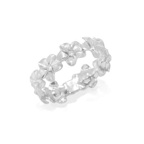 plumeria eternity ring in 14k white gold 6mm