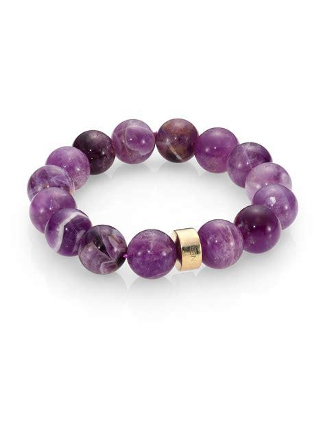 Nest Amethyst Beaded Stretch Bracelet in Purple   Lyst