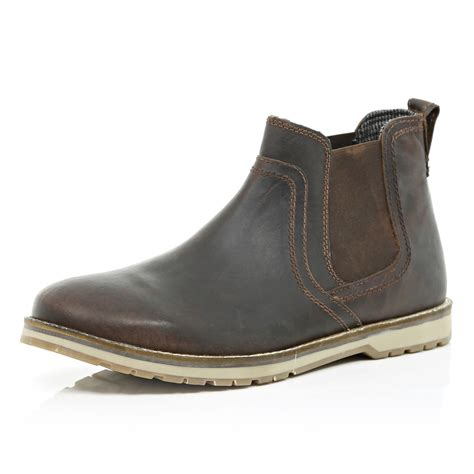 Boot Island 1 river island brown cleated sole chelsea boots in brown for lyst
