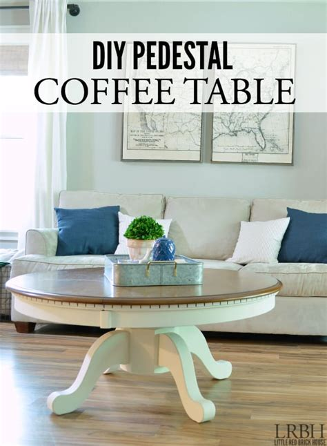 How To Make A Coffee Table Into An Ottoman Diy Pedestal Coffee Table Domestically Speaking
