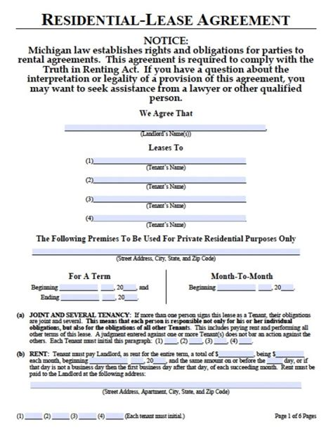 Residential Lease Agreement Template Michigan Example Good Resume