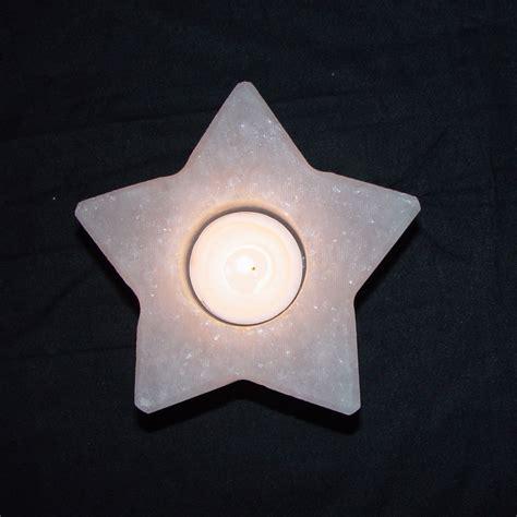 salt l candle holder white star shape candle holder salt crystal tealight
