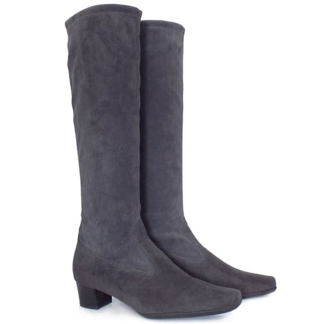 kaiser aila pull on grey stretch suede boots