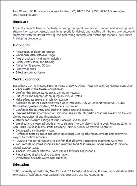 Material Controller Cover Letter by Material Controller Resume Template Best Design Tips Myperfectresume