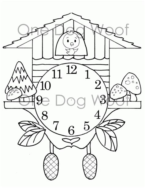 Create Your Own Cuckoo Clock Digital Print Coloring By Create A Coloring Page
