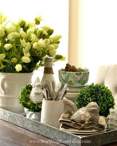 ideas for kitchen table centerpieces kitchen table spring centerpiece on a galvanized steel
