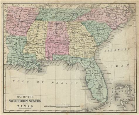 map of the southern states except geographicus