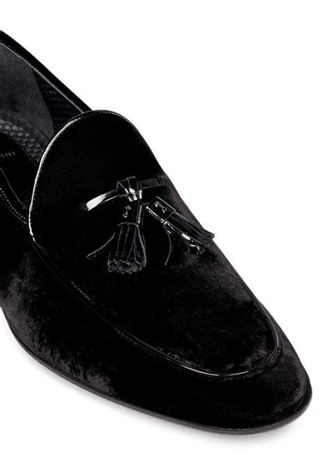 tassel loafers in velvet saks fifth avenue velvet leather tassel loafers in black
