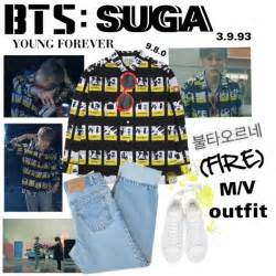 """~ One of BTS Suga's outfit from their new music video """"Fire"""". The M/V ... V And S Logo Design"""